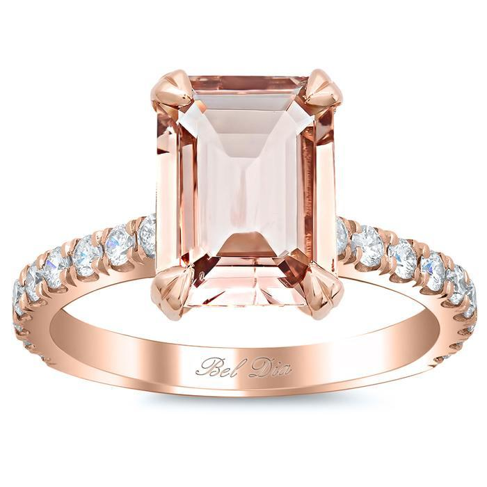 Pave Diamond Engagement Ring for Emerald Cut Morganite Rose Gold & Morganite Engagement Rings deBebians