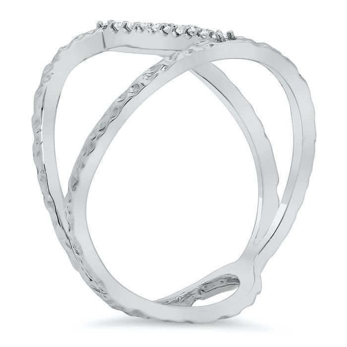 Pave Diamond Hammered Bar Ring