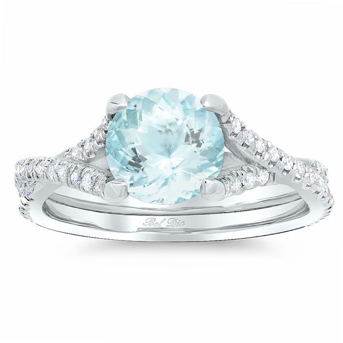 Pave Diamond Twisted Engagement Ring for Round Aquamarine Aquamarine Engagement Rings deBebians