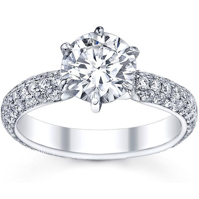 Diamond Accented Princess Three Stone Ring with Trellis Setting