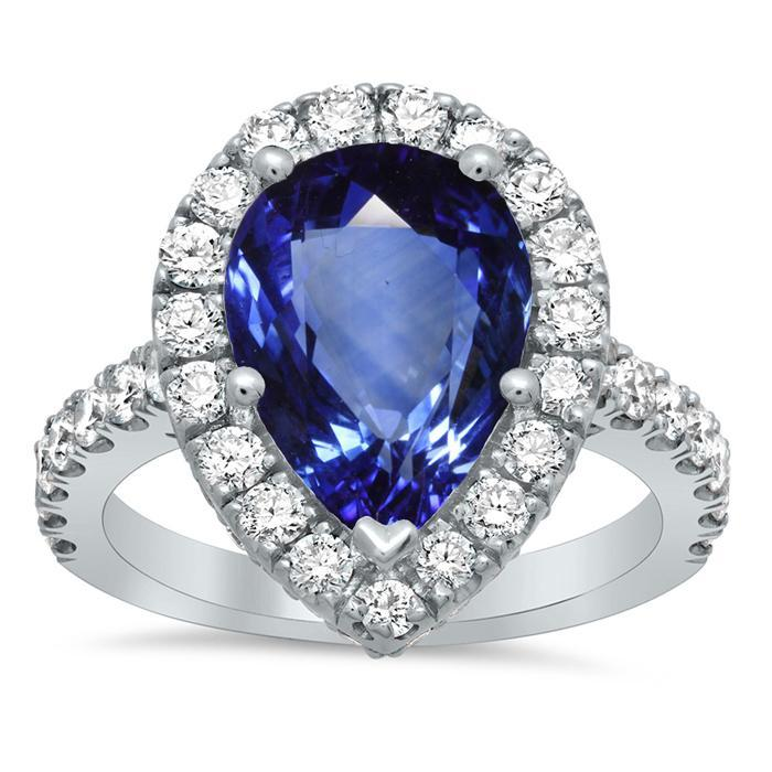 Pave Halo Engagement Ring with Pear Sapphire Sapphire Engagement Rings deBebians