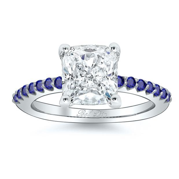 Pave Sapphire Accented Engagement Ring Sapphire Engagement Rings deBebians