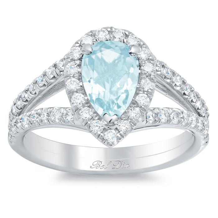 Pear Aquamarine Pave Diamond Split Shank Halo Engagement Ring Aquamarine Engagement Rings deBebians
