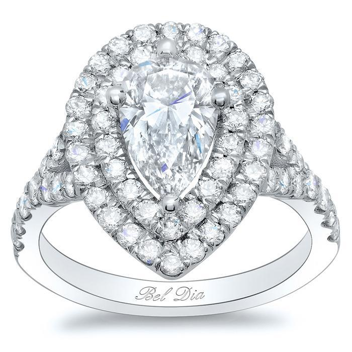 Pear Baby Split Double Halo Engagement Ring