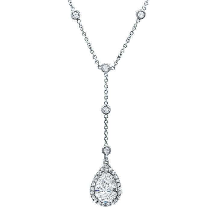 Pear Halo Diamond Drop Necklace Diamond Necklaces deBebians