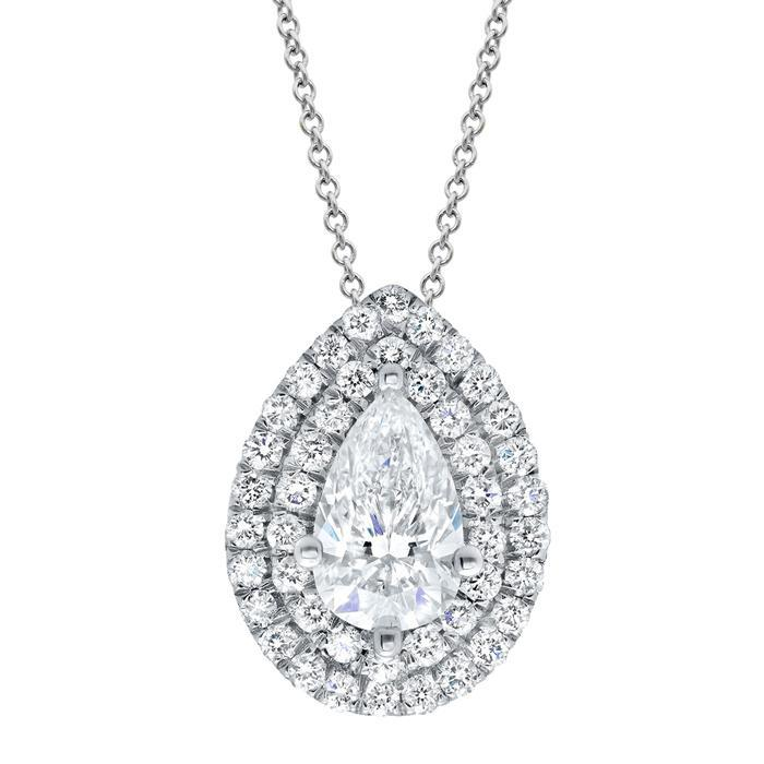 Pear Double Halo Diamond Necklace Diamond Necklaces deBebians