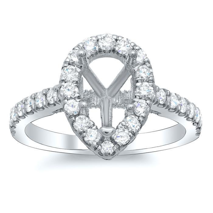 Pear Pave Halo Engagement Ring Halo Engagement Rings deBebians