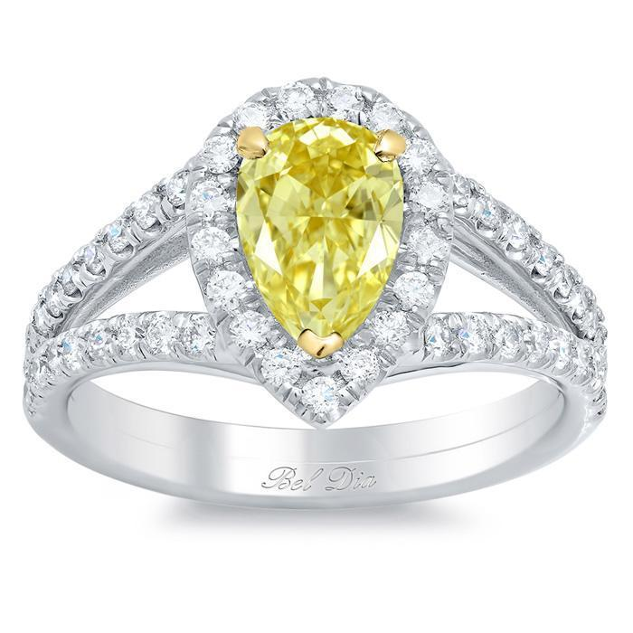 Pear Canary Yellow Diamond Engagement Ring Yellow Diamond Engagement Rings deBebians