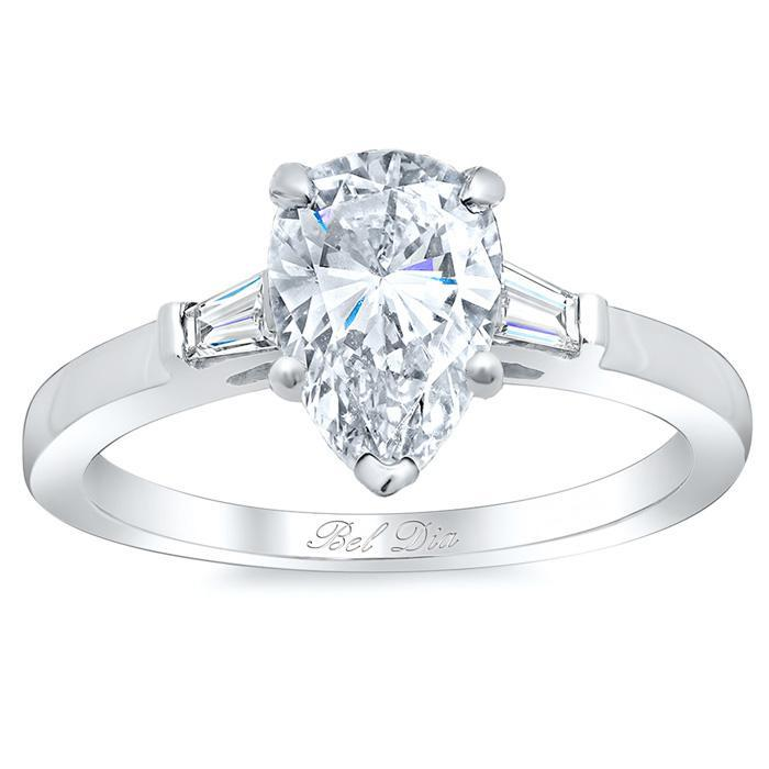 Pear Three Stone Engagement Ring with Baguettes Diamond Accented Engagement Rings deBebians