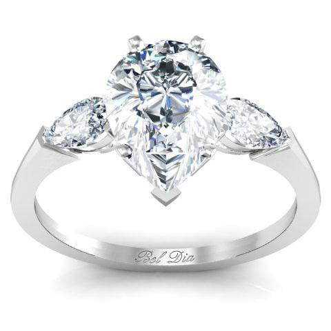 Pear Three Stone Engagement Ring with Cathedral Setting Diamond Accented Engagement Rings deBebians