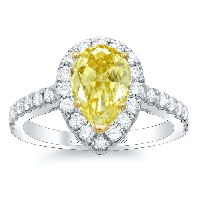 Pear Yellow Diamond Halo Engagement Ring Yellow Diamond Engagement Rings deBebians