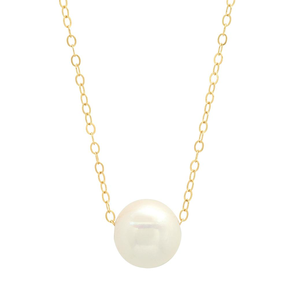 10-11mm White Freshwater Cultured Pearl Pendant 14kt Yellow Gold Necklaces deBebians