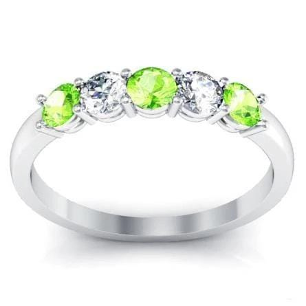 0.50 cttw Peridot and Diamond Five Stone Shared Prong Ring Five Stone Rings deBebians