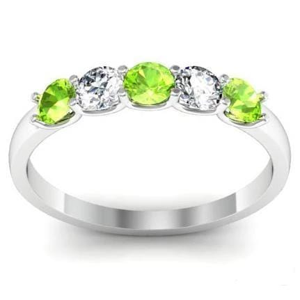 0.50 cttw Peridot and Diamond 5 Stone U-Prong Ring Five Stone Rings deBebians