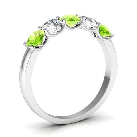 1.00cttw U Prong Peridot and Diamond Gemstone Band Five Stone Rings deBebians