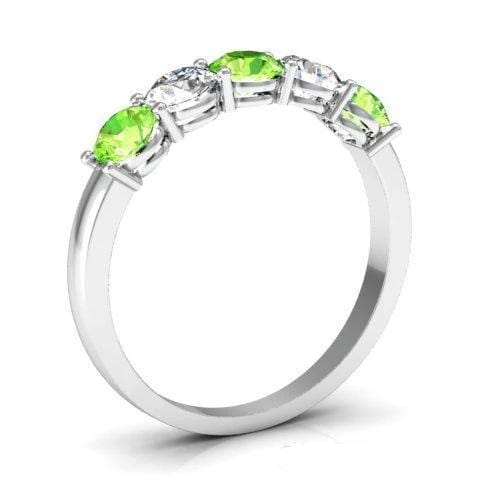 1.00cttw Shared Prong Peridot and Diamond Ring Five Stone Rings deBebians