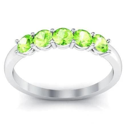 0.50cttw Shared Prong Peridot Five Stone Band Five Stone Rings deBebians