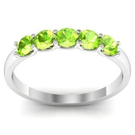 0.50cttw U Prong Peridot Five Stone Ring Five Stone Rings deBebians