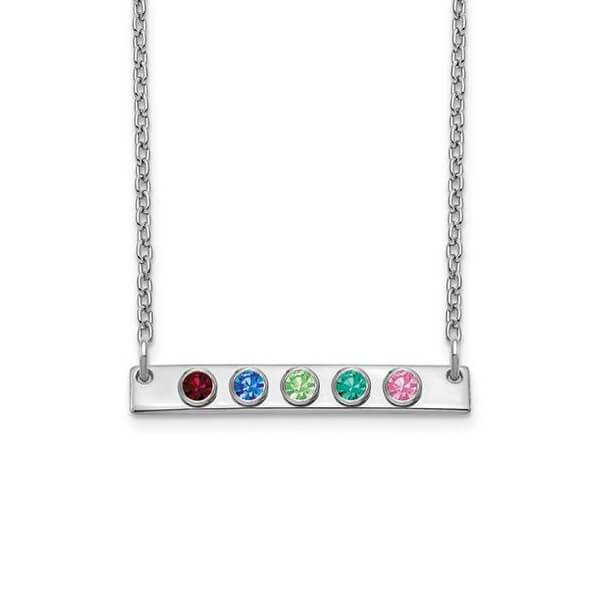 Personalized Bar Necklace with Five Gemstones Necklaces deBebians Sterling Silver