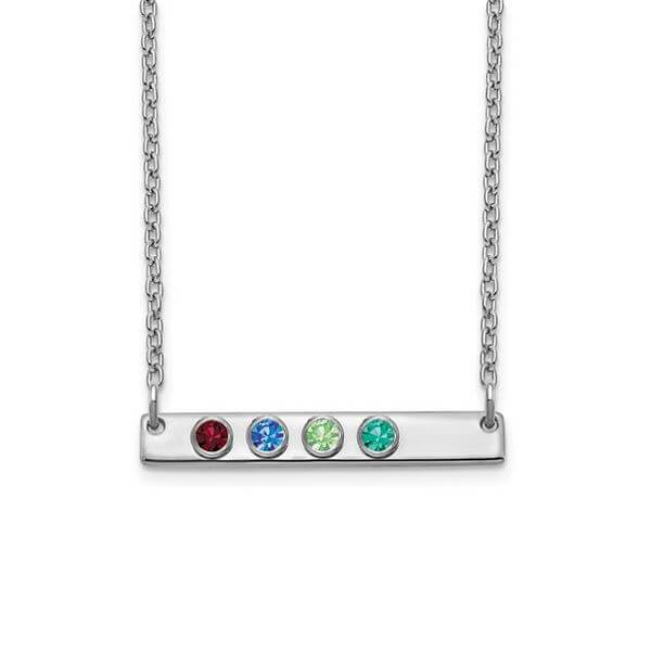 Personalized Bar Necklace with Four Gemstones Necklaces deBebians Sterling Silver