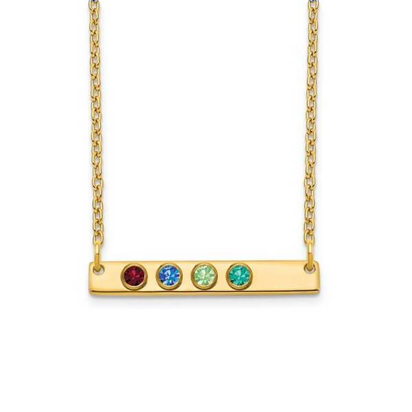 Personalized Bar Necklace with Four Gemstones Necklaces deBebians 14k Yellow Gold