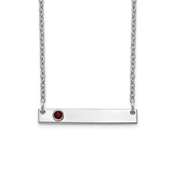 Personalized Bar Necklace with One Gemstone Necklaces deBebians Sterling Silver