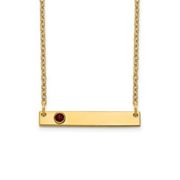 Personalized Bar Necklace with One Gemstone Necklaces deBebians 14k Yellow Gold