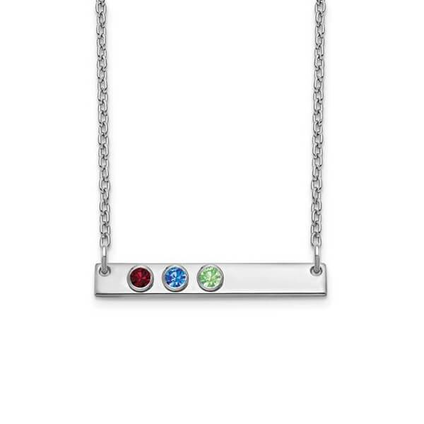 Personalized Bar Necklace with Three Gemstones Necklaces deBebians Sterling Silver