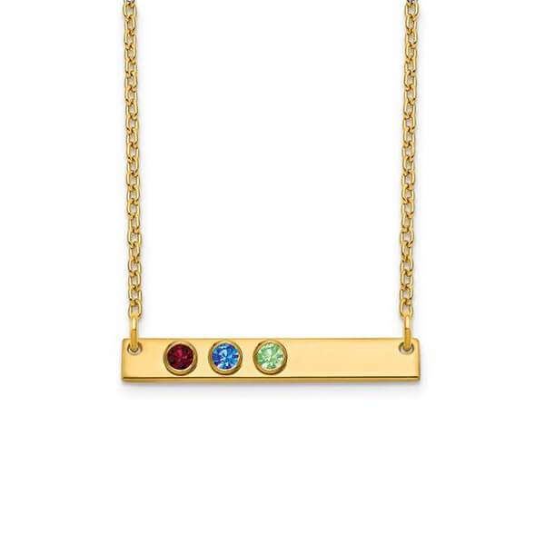 Personalized Bar Necklace with Three Gemstones Necklaces deBebians 14k Yellow Gold