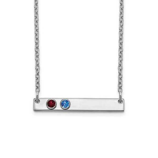 Personalized Bar Necklace with Two Gemstones Necklaces deBebians Sterling Silver