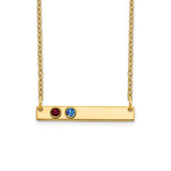 Personalized Bar Necklace with Two Gemstones Necklaces deBebians 14k Yellow Gold