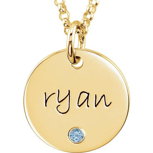 Gold Birthstone Initial Pendant Necklace