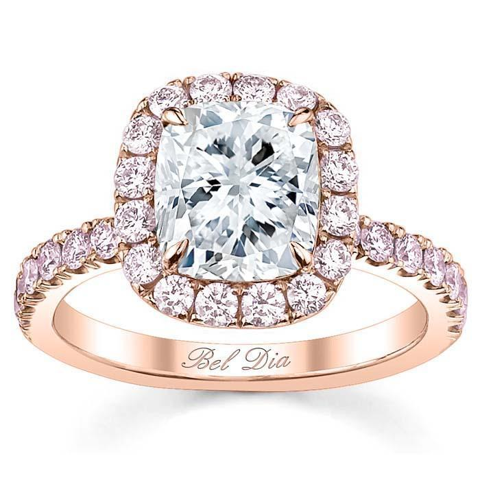 Pink Diamond Cushion Halo Engagement Ring Halo Engagement Rings deBebians