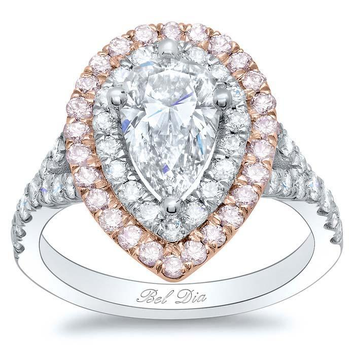 Pink Diamond Double Halo Engagement Ring for Pear Diamond