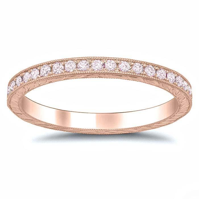 Pink Diamond Rose Gold Hand Engraved Eternity Band Gemstone Eternity Rings deBebians
