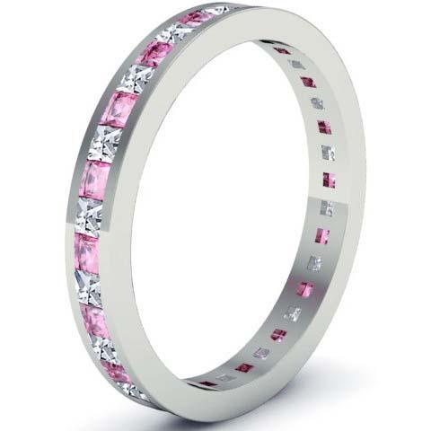 Pink Sapphire and Diamond Eternity Ring Gemstone Eternity Rings deBebians