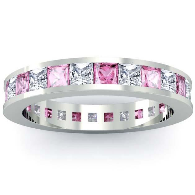 Pink Sapphire and Diamond Eternity Wedding Ring Gemstone Eternity Rings deBebians