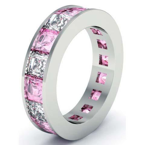 Pink Sapphire and Diamond Gemstone Eternity Anniversary Ring Gemstone Eternity Rings deBebians