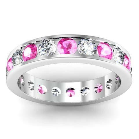 Pink Sapphire and Diamond Round Gemstone Eternity Ring in Channel Setting Gemstone Eternity Rings deBebians