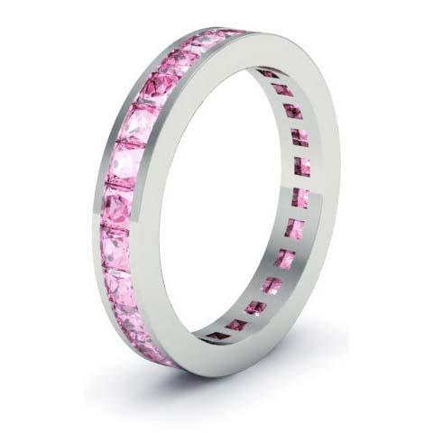 Pink Sapphire Eternity Anniversary Ring Gemstone Eternity Rings deBebians