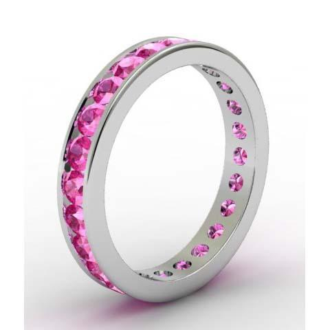 Pink Sapphire Eternity Band in Channel Setting Gemstone Eternity Rings deBebians