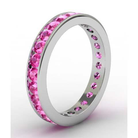 Pink Sapphire Eternity Ring in Channel Setting Gemstone Eternity Rings deBebians
