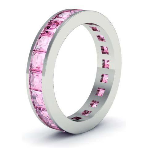 Pink Sapphire Gemstone Eternity Band Gemstone Eternity Rings deBebians