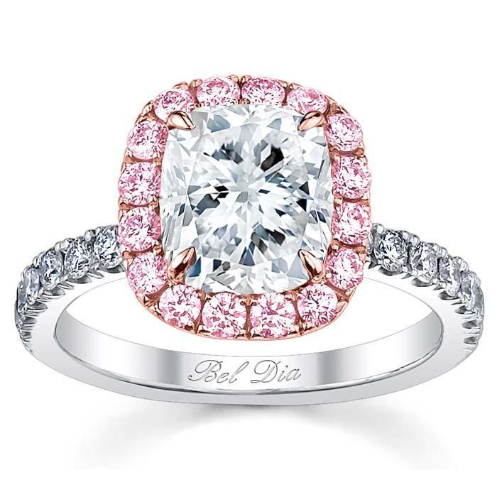 Pink Sapphire Halo Engagement Ring for Cushion Diamond Sapphire Engagement Rings deBebians