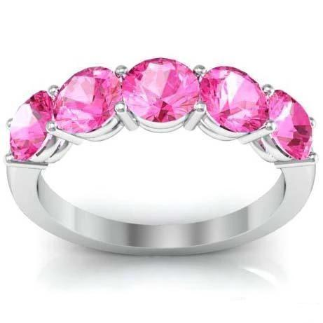 2.00cttw Shared Prong Pink Sapphire 5 Stone Ring Five Stone Rings deBebians