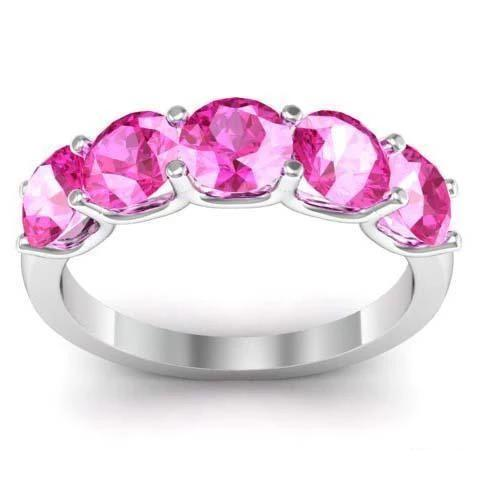 2.00cttw U Prong Pink Sapphire 5 Stone Band Five Stone Rings deBebians