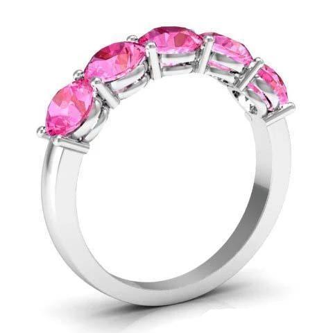 Pink Sapphire 5 Stone Ring