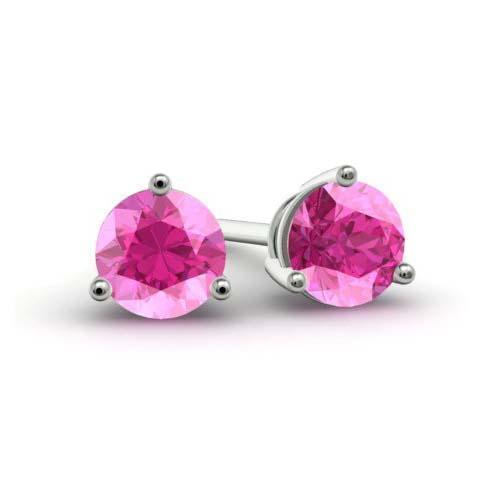 Pink Sapphire Stud Earrings Gemstone Stud Earrings deBebians
