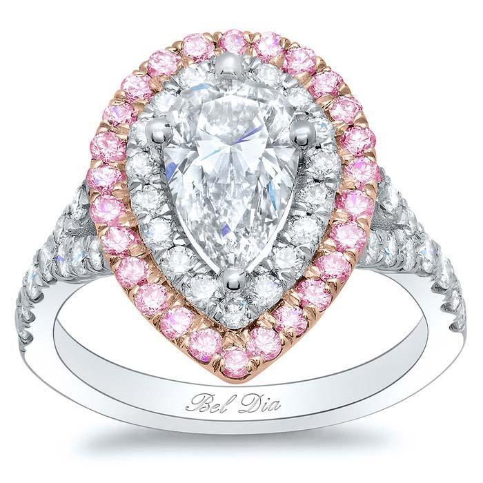 Pink Sapphire Two Tone Pear Double Halo Engagement Ring