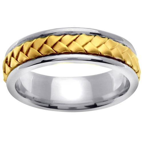18kt Gold Braided Center Platinum Ring Platinum Wedding Rings deBebians